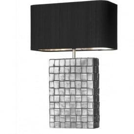 ELEMENT rectangular textured pewter table lamp with black silk shade