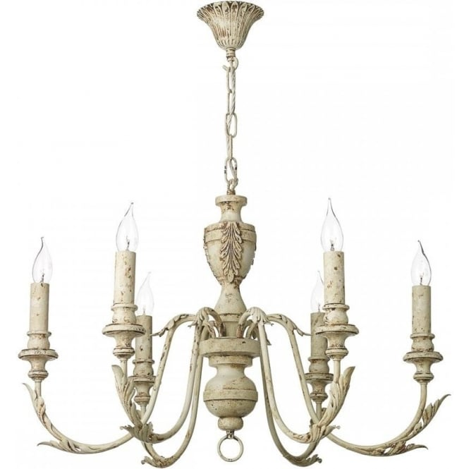 Emile distressed cream painted chandelier in french shabby chic style emile 6 light rustic french style cream chandelier aloadofball Images