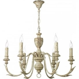 EMILE 6 light rustic French style cream chandelier
