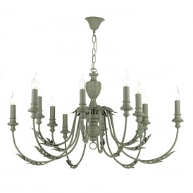 EMILE large 12 light rustic French style chandelier painted in ash grey