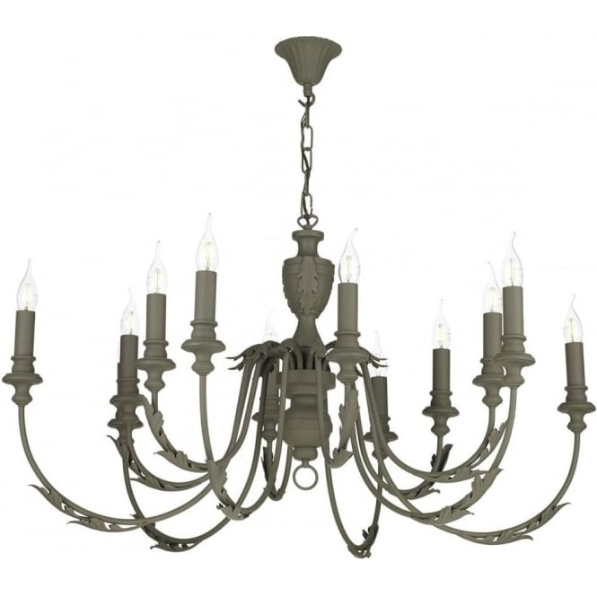 Artisan Lighting EMILE large 12 light rustic French style chandelier painted in mole brown