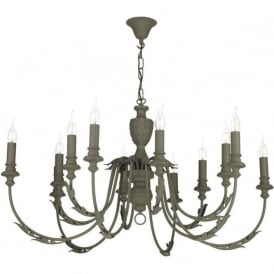 EMILE large 12 light rustic French style chandelier painted in mole brown
