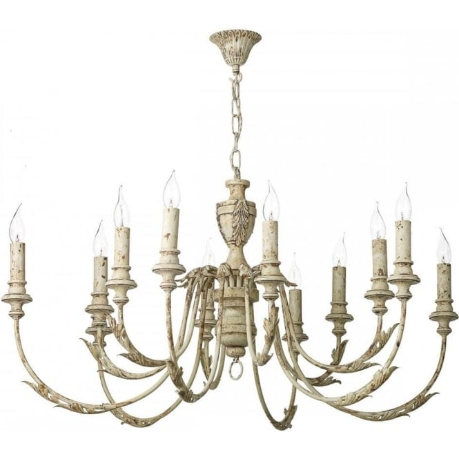 Large Distressed Cream Painted Chandelier in Rustic French Styling – French Style Chandelier
