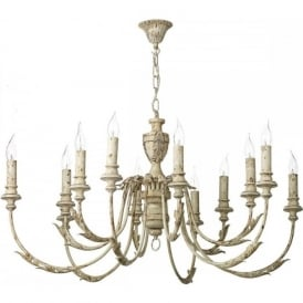 EMILE large 12 light rustic French style cream chandelier
