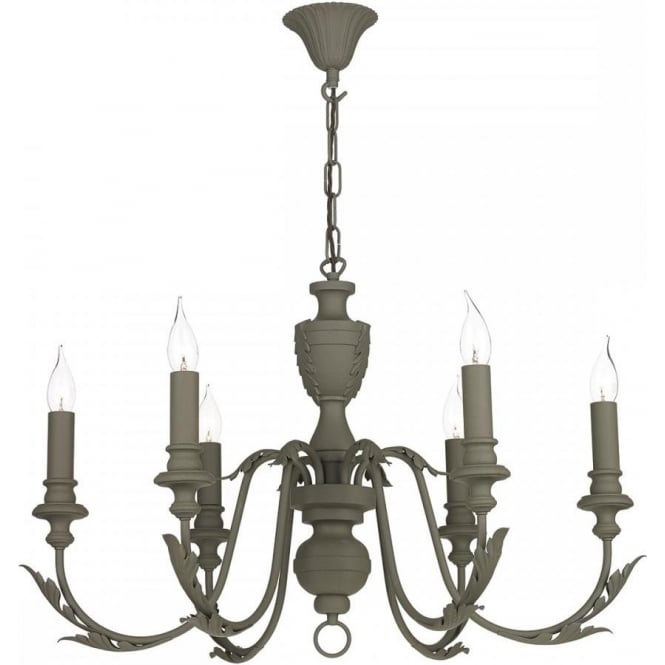 Artisan Lighting EMILE mole brown 6 light rustic French style chandelier