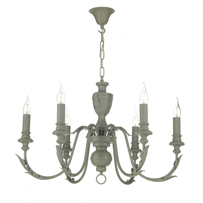 David Hunt Lighting EMILE traditional ash grey 6 light rustic French style chandelier