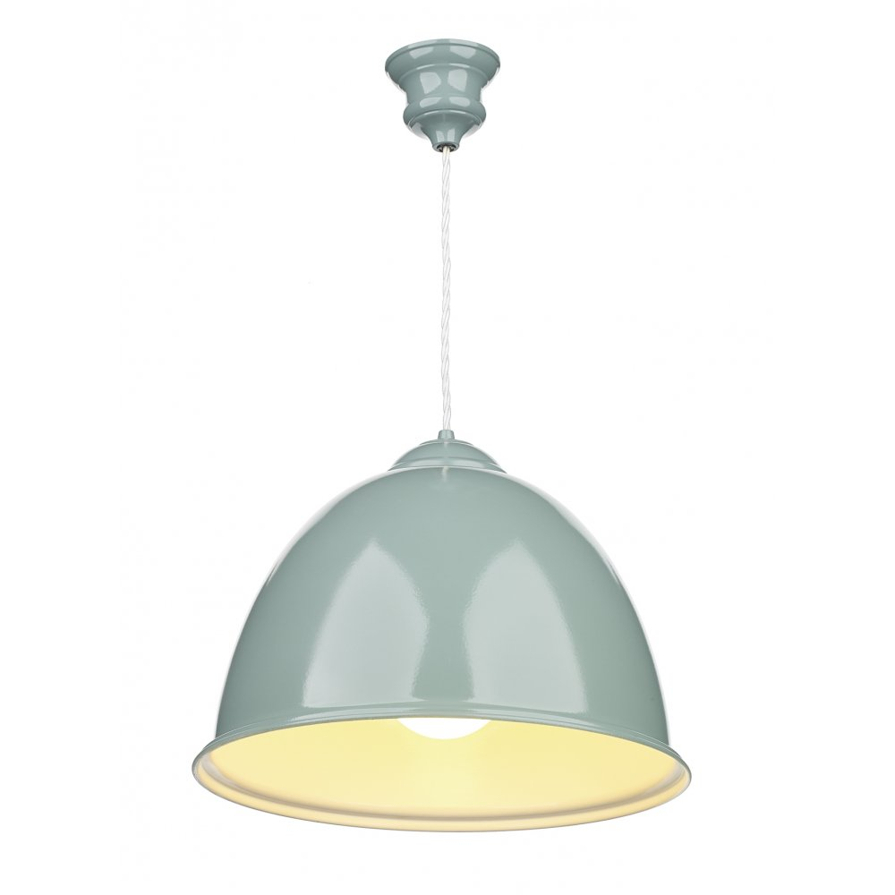 Blue painted metal ceiling pendant light retro style over for Metal hanging lights
