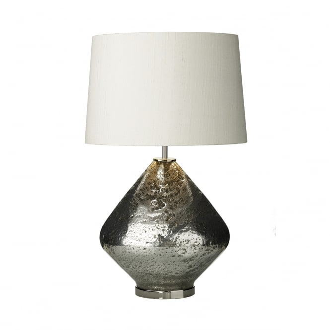 David Hunt Lighting EVORA volcanic mirror glass table lamp with ivory silk shade