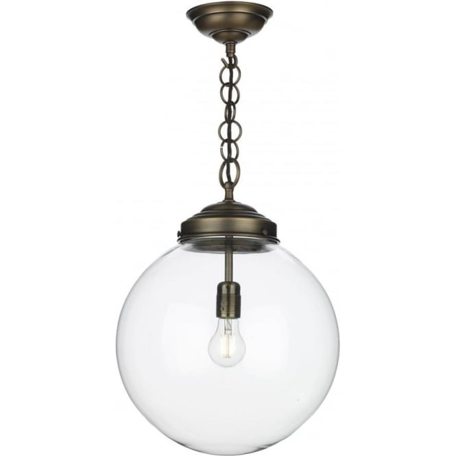 Artisan Lighting FAIRFAX traditional clear glass globe ceiling pendant on antique brass fitting