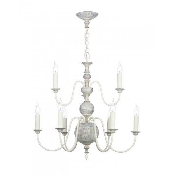 Regency Ceiling Light Chandelier in Flemish Style Distressed Grey – Grey Chandelier