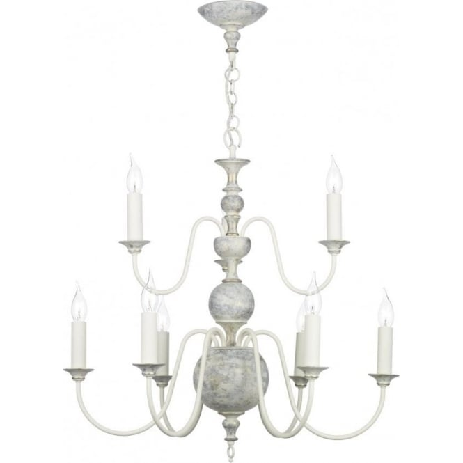 David Hunt Lighting FLEMISH 9 light chandelier, distressed powder grey and gold