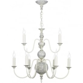 FLEMISH 9 light chandelier, distressed powder grey and gold