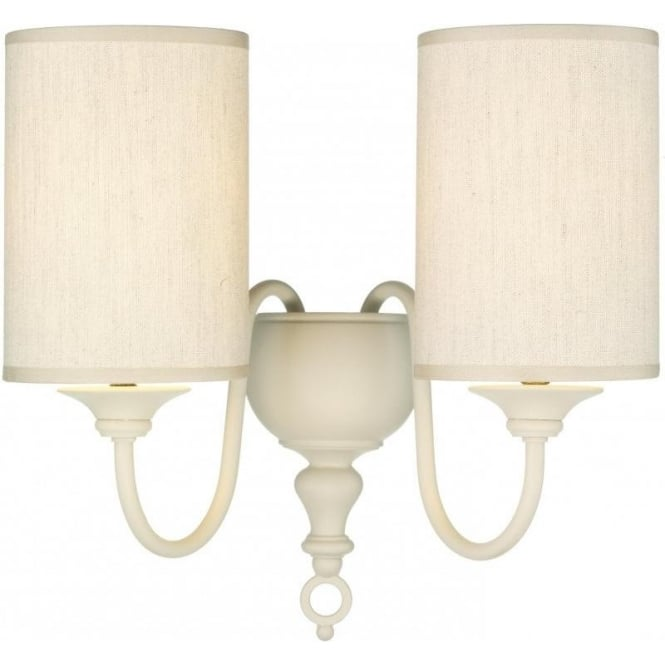 Cream Wall Lamp Shades : Cream Wall Sconce Light FLEMISH Double Wall Light Natural Weave Shades