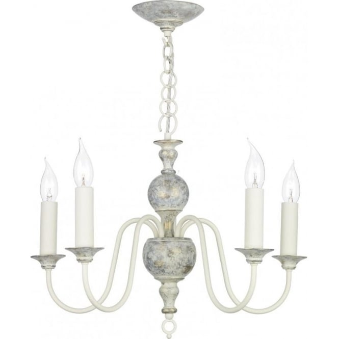 Artisan Lighting FLEMISH distressed powder grey 5 light chandelier