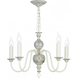 FLEMISH distressed powder grey 5 light chandelier