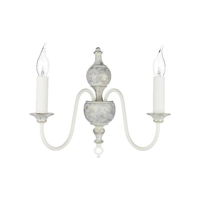 Artisan Lighting FLEMISH double wall light, distressed powder grey and gold