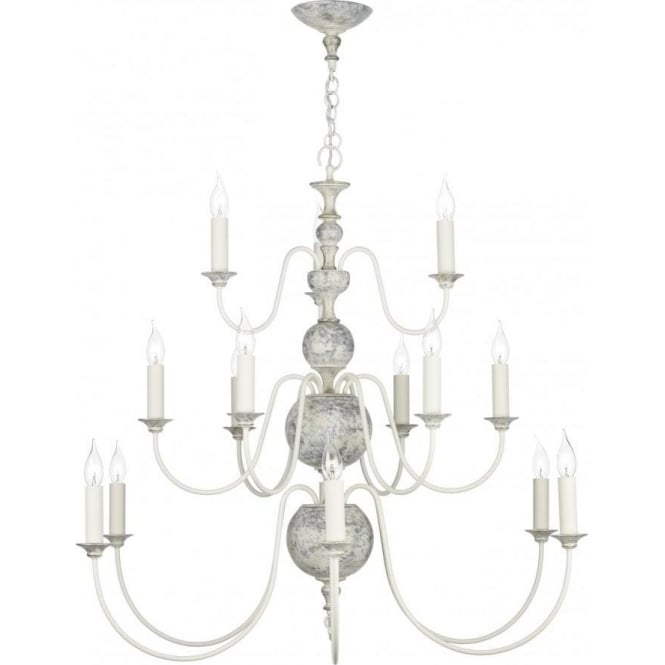 Artisan Lighting FLEMISH large chandelier, distressed powder grey and gold