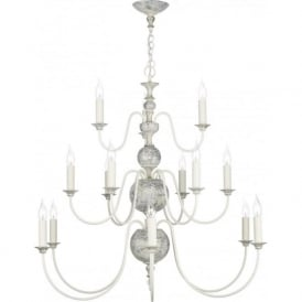 FLEMISH large chandelier, distressed powder grey and gold