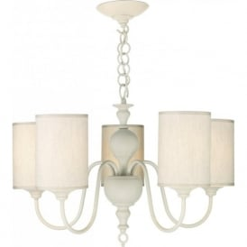 FLEMISH traditional antique cream ceiling light with natural shades.