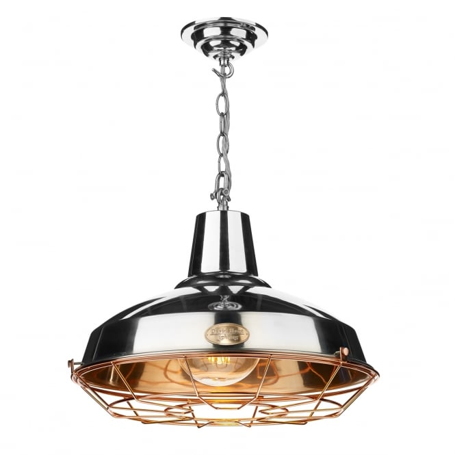 Artisan Lighting FOUNDRY industrial design chrome and copper ceiling pendant