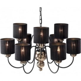 GARBO bronze & black ceiling light with black string shades