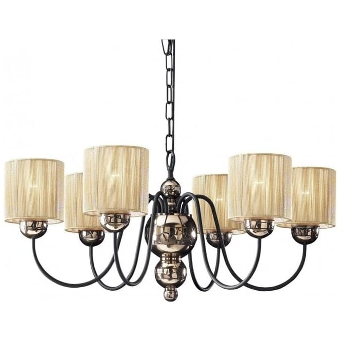 Artisan Lighting GARBO bronze & black ceiling light with gold string shades