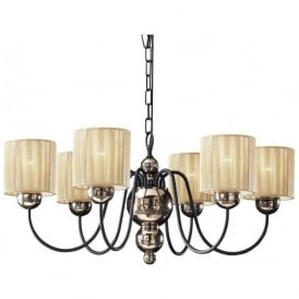 GARBO bronze & black ceiling light with gold string shades