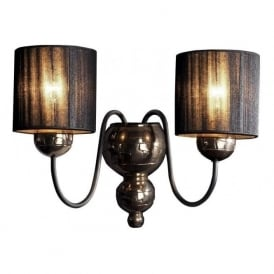 GARBO bronze & black wall light with black string shades