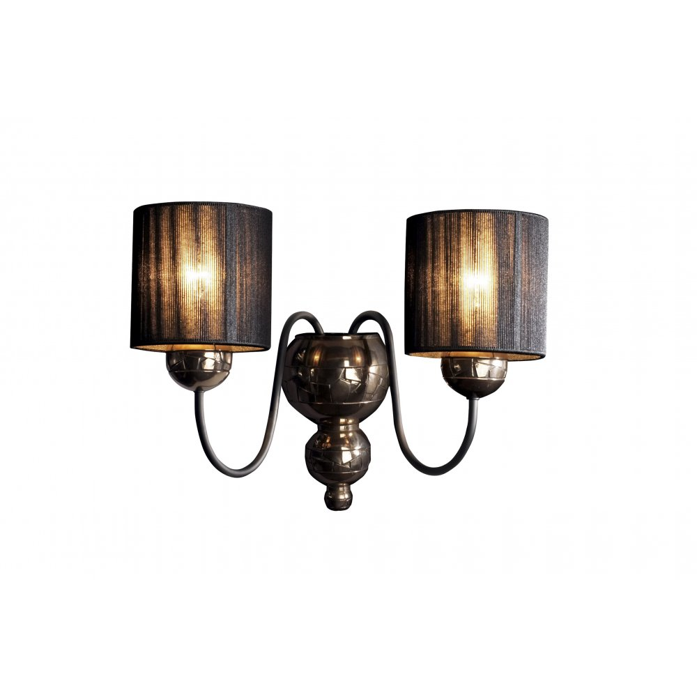 Drawstring Wall Lights : Wall Light. GARBO Twin Wall Lights in Patterned Bronze & Black Shades.