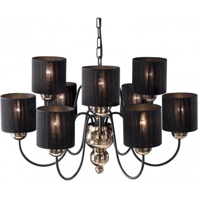 Artisan String Lights : Bronze & Black Ceiling Light GARBO Large Chandelier with Black Shades