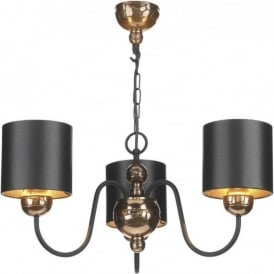 GARBO bronze ceiling pendant with black shades