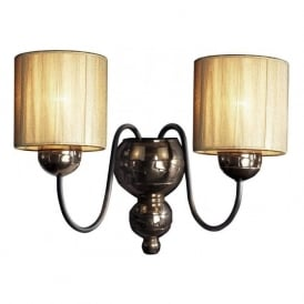 GARBO double bronze wall light with gold string shades