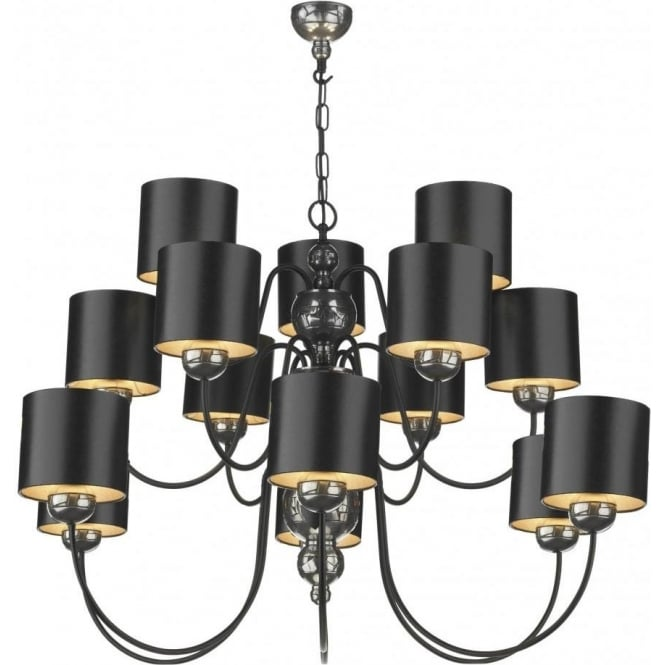 David Hunt Lighting GARBO large 15 light pewter ceiling pendant, black shades