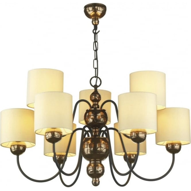 Artisan Lighting GARBO large bronze ceiling light with cream shades