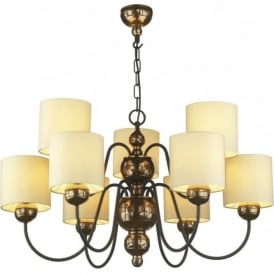 GARBO large bronze ceiling light with cream shades