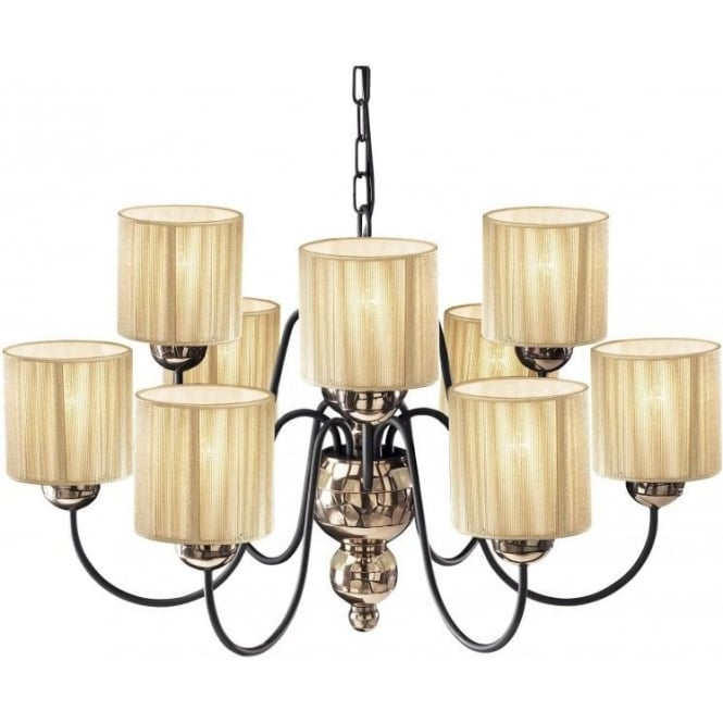 Artisan String Lights : Bronze Ceiling Light GARBO Traditional Large 9 Arm Chandelier Gold Shades