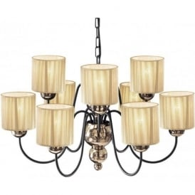GARBO large bronze ceiling light with gold string shades