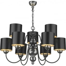 GARBO large pewter ceiling pendant black shades