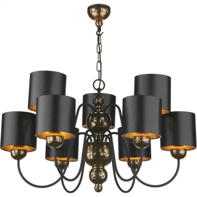 David Hunt Lighting GARBO traditional bronze ceiling light with black shades