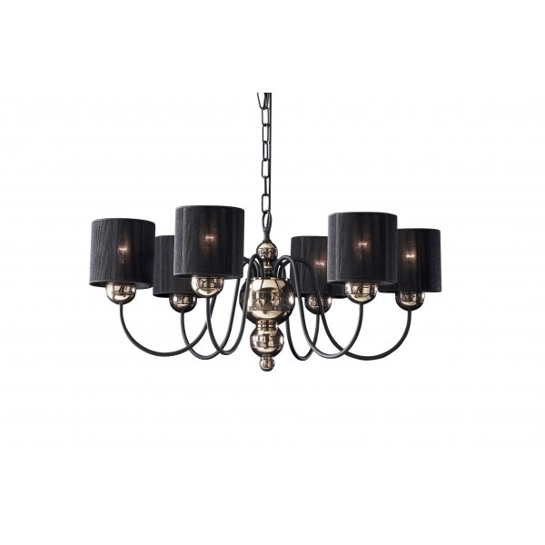 Bronze GARBO Ceiling Light Traditional Bronze Mosaic Frame Black Shades