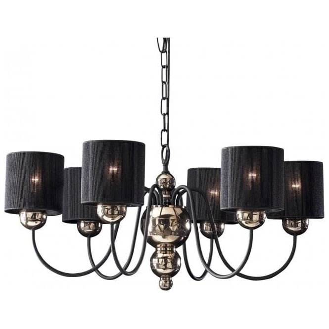 David Hunt Lighting GARBO traditional bronze ceiling light with black string shades