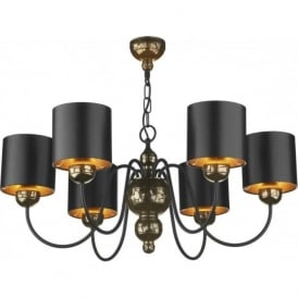 GARBO traditional bronze ceiling pendant light, black shades