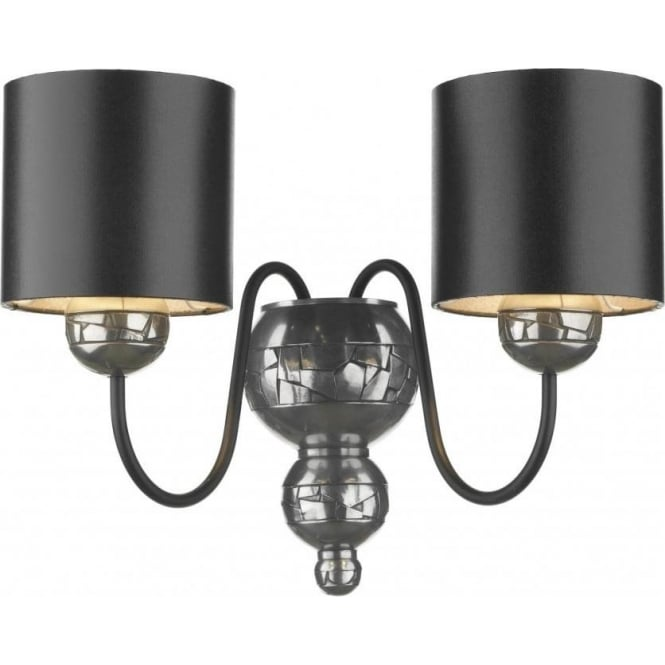 Artisan Lighting GARBO twin pewter wall light with black shades