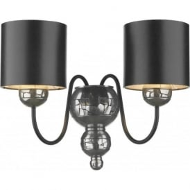 GARBO twin pewter wall light with black shades