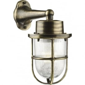 HARBOUR nautical style antique brass outdoor wall lantern, IP64