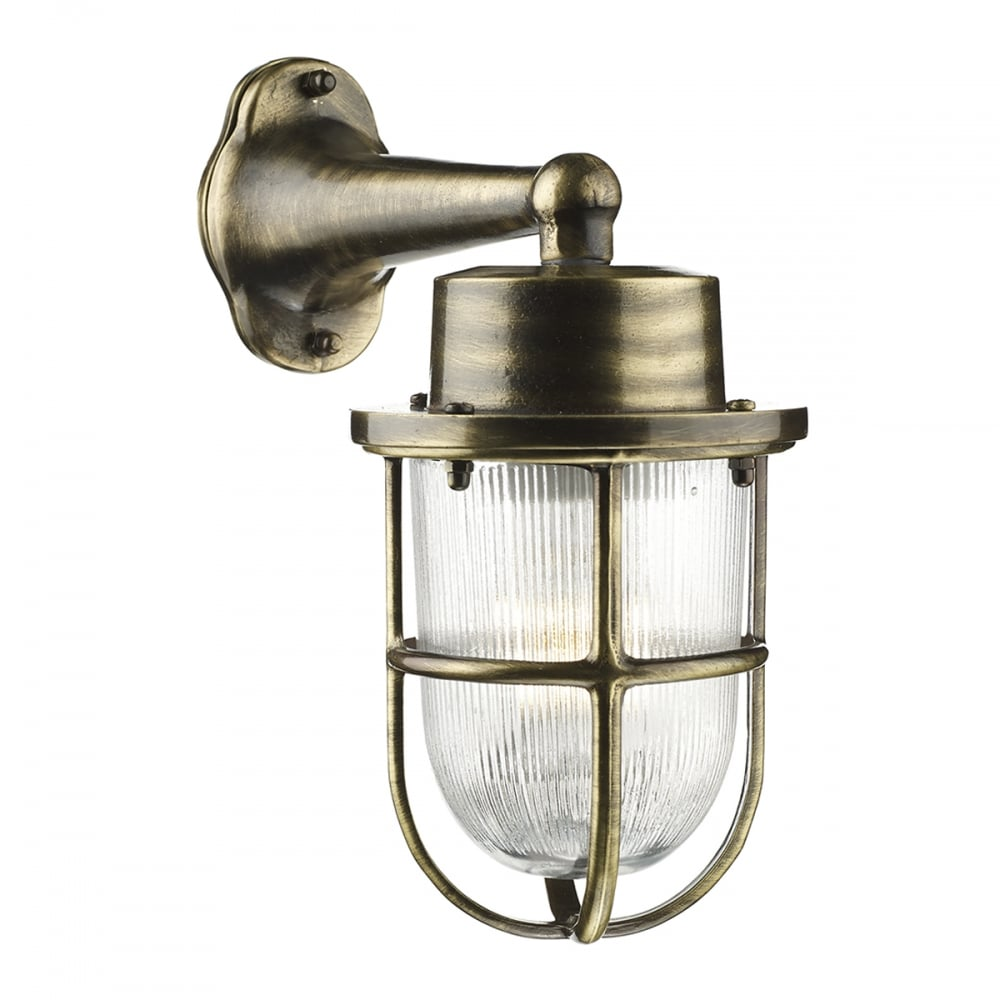 Outdoor Wall Lights Types: Nautical Design Outdoor Wall Light, Antique Brass With