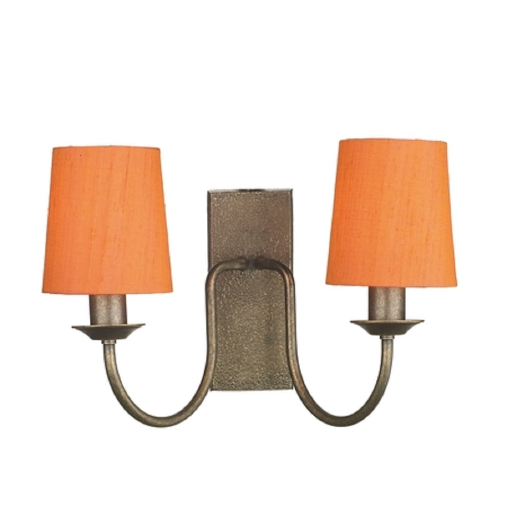 Traditional Bronze Double Wall Light with Orange Clip-on Candle Shades