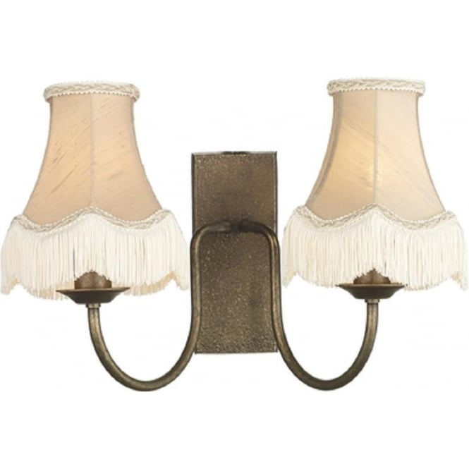 Artisan Lighting HERRIOT traditional bronze double wall light with taupe fringed shades
