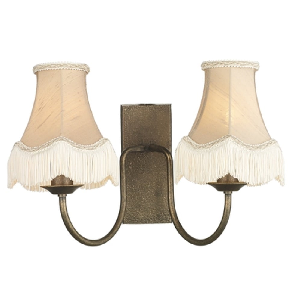 UK Made Traditional Textured Bronze Wall Light, Fringed Candle Shades