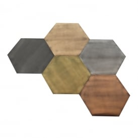 HEXAGON multi-pack of metalllic wall art tiles